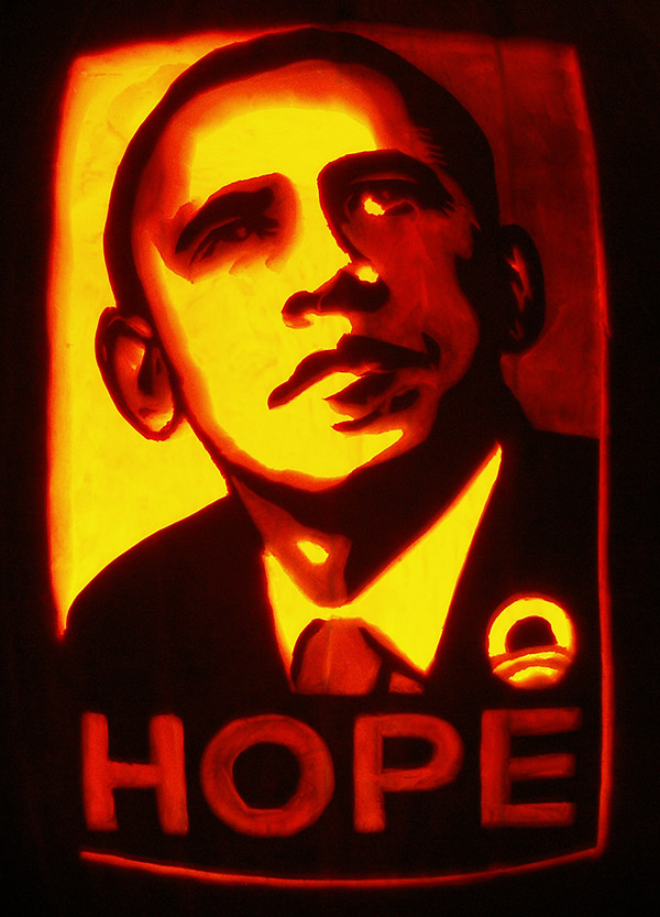Pumpkin Carving: Obama Hope - Noel