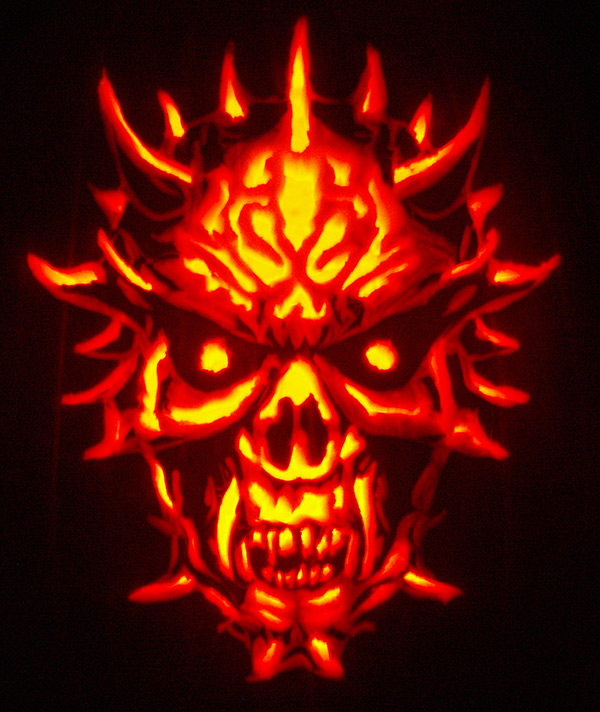 Pumpkin Carving: Demon Skull - Justin