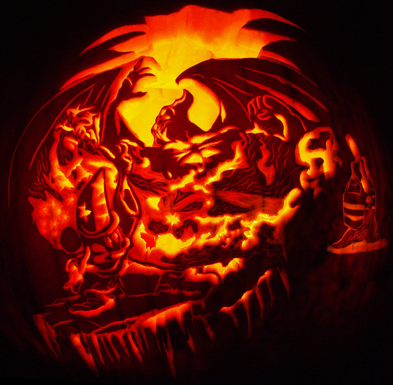 Pumpkin Carving: Mickey vs Chernabog - Noel