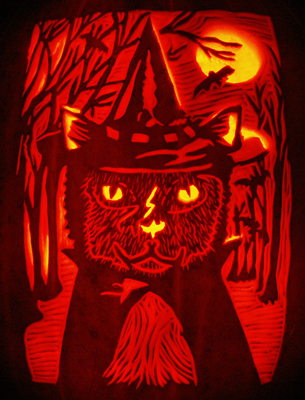 Pumpkin Carving: Harry Potter as a Cat - Noel