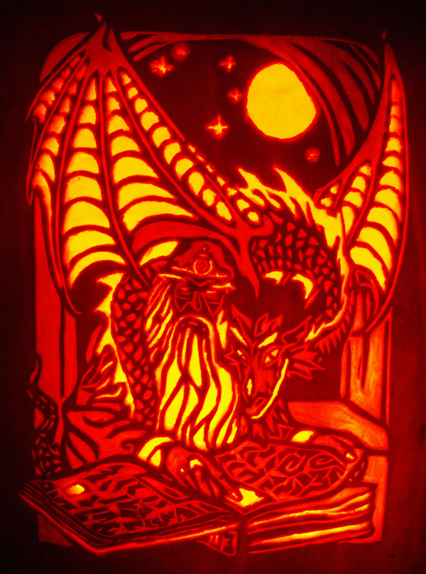 Pumpkin Carving: Wizard and Dragon Familiar - Joseph