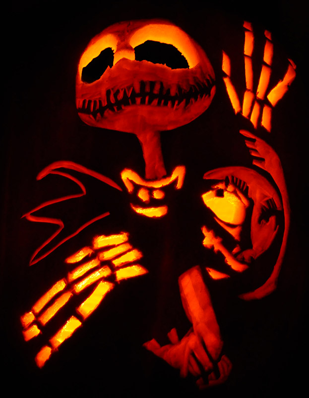 Jack and sally pumpkin carving stencils