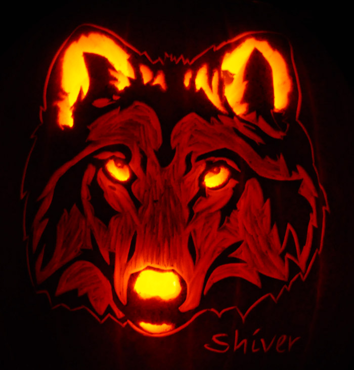 Wolf head pumpkin stencil